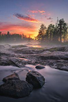 "lsleofskye: ""River Kiiminkijoki sunset and fog """