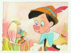 """Friendly Guidance"" by Toby Bluth - Original Watercolor on Paper, 9.5x12.5.  #Disney #Pinocchio #JiminyCricket #DisneyFineArt #TobyBluth"