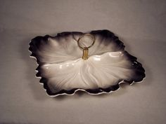 Vista Valley Pottery Ceramic Black White Leaf Dessert Plate