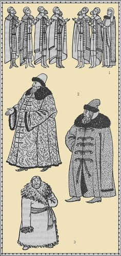 1. Praying Novgorod. A fragment of the icon of the XV century.  2. Boyar coat. XVI-XVII century.  3. A peasant in a sheepskin coat. XIX century