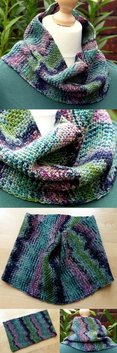 Colour Pool Cowl - Free Crochet Pattern from Make My Day Creative specifically for short colour variegated yarn