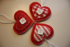 Valentine Felt Heart Ornaments/ Decorations by GeorgeNRuby on Etsy