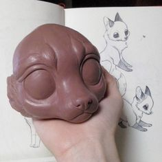 I'm quite happy with the foxy head's shape :3 Soon I will start with the texture! (Sorry for the crappy quality photo >_<) #Wip #artdoll #cute #stylized #fox #sculpture #monsterclay