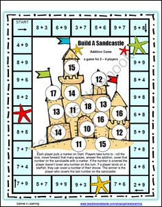 Beach ~ Build A Sandcastle Addition Board Game from Games 4 Learning on TeachersNotebook.com -  (3 pages)