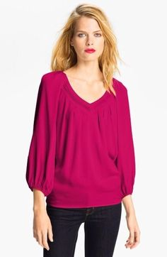 Diane von Furstenberg Raspberry Silk Cahil 3/4 Sleeve Blouse **Rare Color** Sz 2 #DianevonFurstenberg #Blouse #Casual