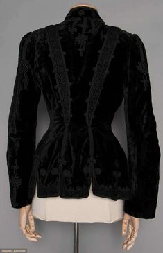 Lady's Black Velvet Jacket, fitted long jacket w/ soutache braid trim, white satin lining, c. Suits For Women, Jackets For Women, Clothes For Women, Black Velvet Jacket, 1890s Fashion, Jacket Images, Clothing And Textile, Period Outfit, Long Jackets