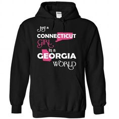 Just A Connecticut Girl In A Georgia World T Shirts, Hoodies. Check price ==► https://www.sunfrog.com/Valentines/-28Connecticut001-29-Just-A-Connecticut-Girl-In-A-Georgia-World-Black-Hoodie.html?41382