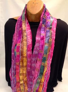 Silk scrap scarf in jewel tones of lavender, purple, gold, fuchsia and green by DonnaMarchettiDesign on Etsy