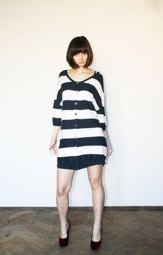 Navy oversize sweater Stripes sweater Big sweater by selenefashion