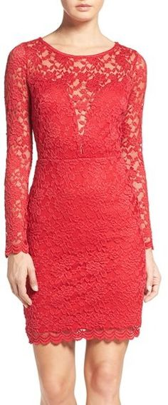 Red Fraiche By J Lace Body-Con Dress $114 At Nordstrom Form fitting red lace dress long sleeves scalloped hem https://api.shopstyle.com/action/apiVisitRetailer?id=608565947&pid=uid841-37799971-81