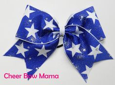 Blue & White Stars Cheer Bow by Cheer Bow Mama