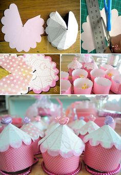 Cupcake box  1.Depending on how big your bases are cut circles for lids(mine are about 11cm across) Fold/ score into quarters and cut one whole quarter out. But be sure to leave just enough edge on one side for the tape to stick on and neatly tuck under at the end.    2. Score evenly around your box dividing each quarter into 4 again. I used somet