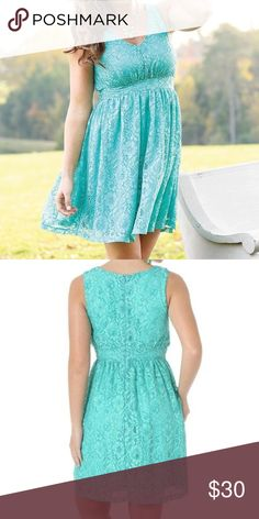 Wrangler Mint Lace Dress Lovely lace dress. Perfect for a rustic themed wedding. Zipper enclosure on back of the dress. Dress is more of a blue green color than mint. Only worn once. Open to offers! Wrangler Dresses Mini