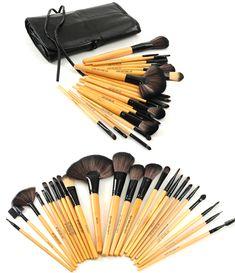 Premium Wood Brush Set with Free Case , Make Up Brush - MyBrushSet, My Make-Up Brush Set  - 2