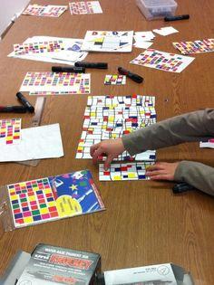Mondrian avec des gomettes carrées