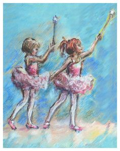 Ballet print Art Girls Ballerina painting by LaurieShanholtzer, $16.00