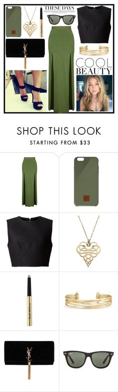 """Green"" by kawtar-el ❤ liked on Polyvore featuring Topshop, Native Union, Alexander Wang, Just Cavalli, Trish McEvoy, Stella & Dot and Ray-Ban"