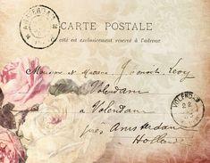 Free freebie printable vintage roses postcard collage