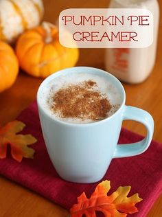 Pumpkin Spice Creamer recipe Ingredients 1 can sweetened condensed milk 1-1/2 cups skim milk, milk, half and half, or cream (you choose based on the fat content your prefer!) 3 tablespoons canned pumpkin 1 teaspoon pumpkin pie spice 1/2 – 1 teaspoon vanilla extract, to taste  Instructions:  Combine ingredients in a container with a cover. Shake until combined, or use an immersion blender or traditional blender and blend until smooth. Store, covered, in the fridge and shake/stir before using.