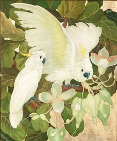 art-and-things-of-beauty  Jessie Arms Botke (1883-1971) - Two Cockatoos, oil and goldleaf on board, 75,5 x 62,7 cm.