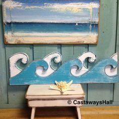 Waves Sign Wall Art Beach House Coastal Nautical Wall Shelf Decor 35 inches by CastawaysHall Seashell Display, Mermaid Wall Art, Mermaid Home Decor, Mermaid Crafts, Wooden Wheel, Wall Shelf Decor, Boho Home, Nautical Home, Nautical Nursery