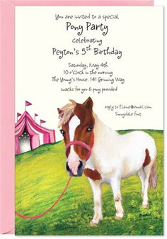Pony Party Invitation with Pink envelope