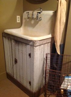 Primitive bathrooms 334814553546942086 - Super Ideas Bathroom Sink Ideas Vintage Laundry Rooms Source by Laundry Room Sink, Bathroom Sink Cabinets, Basement Laundry, Laundry Room Organization, Basement Bathroom, Laundry Rooms, Bathroom Plumbing, Diy Cabinets, Bathroom Ideas