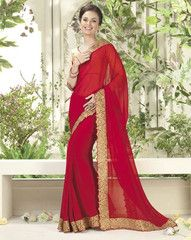 Red Color Georgette Casual Party Sarees : Swanita Collection  YF-40007