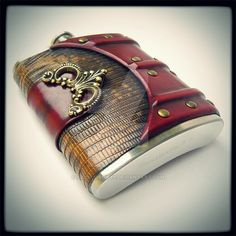 Flask in genuine lizard and vegtan leather by alexlibris999 on DeviantArt