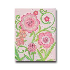 """16""""x20"""" hand painted pink flower canvas art - embellished girl canvas with flowers and glitter- art for girls"""