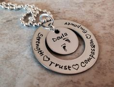 Hand stamped doula Neckace doula gift personalized doula necklace midwife new baby present monogrammed