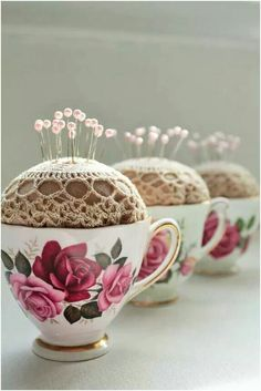 Teacup pin cushion with doily