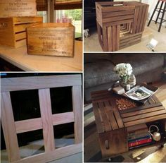 How to Make a Coffee Table from Wine Crates: >>>What you will need>>> *4 Wooden Crates *2 1x2x6 planks of recycled pallet *4 Caster Wheels *Screws *Screw Driver *Stain or Paint your choice *Satin Polyurethane