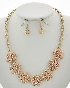 Gold Tone / Peach Acrylic / Lead&nickel Compliant / Fish Hook (earrings) / Flower / Necklace & Earring Set