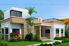 Residential modern house roof design four bedroom one sto with roof deck modern house designs small Single Floor House Design, House Roof Design, Two Story House Design, Best Modern House Design, Small House Design, Modern Bungalow House, Duplex House, Modern House Plans, Small House Plans