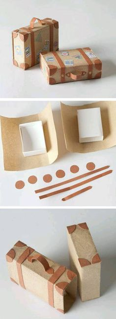 Creative DIY Gift Wrap Tutorials - Suitcase gift box you can make yourself, what a fun idea for travel-related gifts! Creative Gift Wrapping, Creative Gifts, Wrapping Ideas, Wrapping Papers, Wrapping Gifts, Creative Box, Diy Wrapping Paper, Diy And Crafts, Arts And Crafts