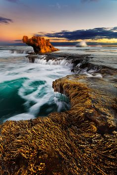 Dragon's Head - The popular Dragon's Head rock at Rye ocean beach, by Kieran…