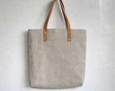 Tote linen bag with leather handles market everywhere bag with zipper