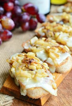 Cheese Crostini wtih Brie Caramelized Onion Pear and Pine Nuts