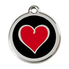 Red Dingo Stainless Steel with Enamel Pet ID Tag  Colored Heart black medium *** You can get additional details at the image link.