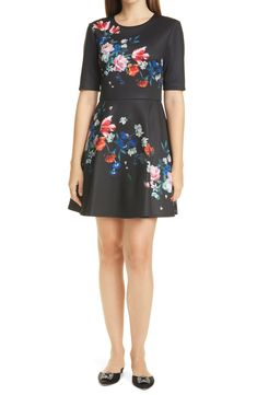 Free shipping and returns on Ted Baker London Zalena Floral Fit & Flare Dress at Nordstrom.com. Freshly picked flowers make a pretty pop against the dark background of this party-ready dress, while the gleaming zipper at the back is pure Ted Baker.