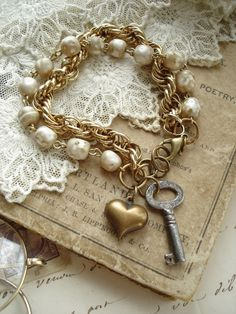SENTIMENTAL - Antique Skeleton Key Jewelry. Vintage Key, Shabby Pearls, Brass Heart Charm Bracelet. Vintage Assemblage Jewelry. RESERVED.