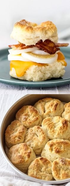 Bacon Egg and Cheese Biscuit Sandwiches with a simple homemade biscuit recipe | foodiecrush.com