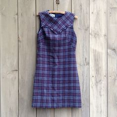 Vintage blue plaid A-line shift by bonmarchecouture on Etsy