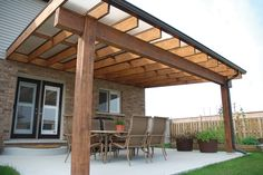 Decoration, Mesmerizing Backyard Design With Lush Green Grass Combined With Concrete Floor Also High Back Wooden Patio Chairs And Patio Table And Pergola Roof Covering: Get Inspired Pergola Roof Covering Design Ideas From 10 Best Pergola Pictures