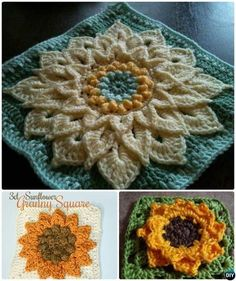 Crochet 3D Sunflower Granny Square Free Patterns