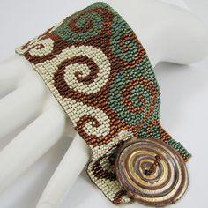 Deelightful Southwestern Swirls Peyote Cuff Bracelet by SandFibers