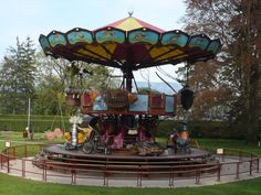 """This unusual carousel is in Geneva, Switzerland. It is called the """"fables carousel"""" (referring to Jean de Lafontaine fables)"""