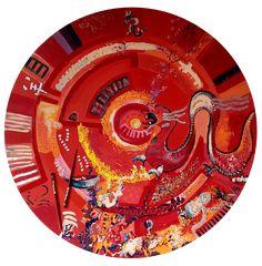 """""""Le souffle du dragon"""" acrylique et technique mixte diam. 110 cm Souffle, Dragon, Board, Dragons"""