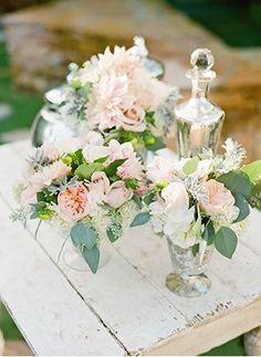 vintage garden wedding centerpieces | Photo by Lane Dittoe